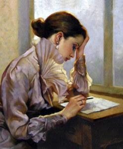 Девушка пишет на бумаге и хочет избавиться от навязчивых мыслей