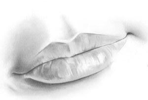 губы, нарисованные карандашом самостоятельно