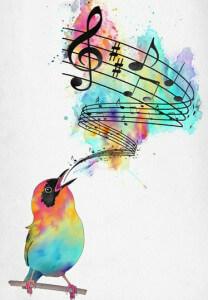 красивая птица поет в голос
